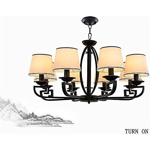 Il nuovo antico moderno e minimalista cinese battuto lampadario in ferro panno nero studio camera da letto ristorante Salotto lampadario ( forma : 8 )