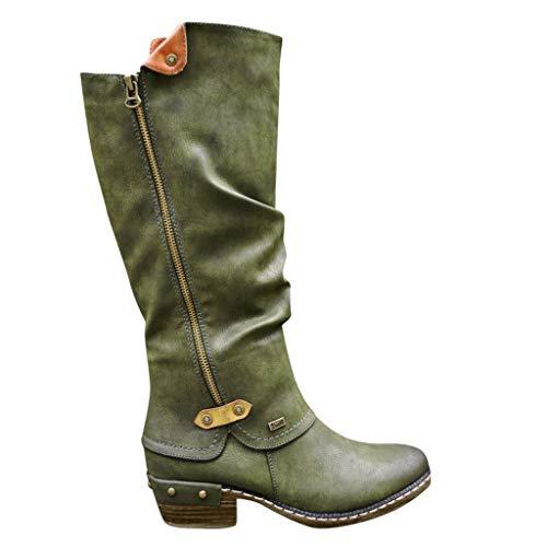 FIRMON Stivali da donna al ginocchio, in pelle scamosciata, tacco piatto, anni '80, con fiocco e zip Green 78 IT