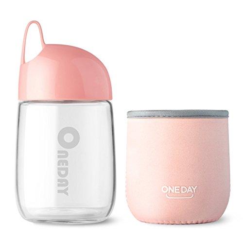 Oneday SB90014300ml Bottiglia in Vetro borosilicato con Manicotto in Nylon, Portatile e Elegante Fatto a Mano, 236G, Rosa