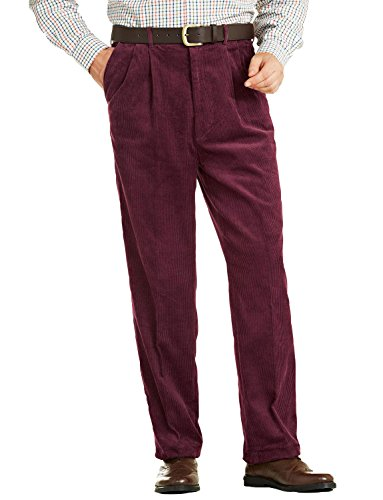 Männer Luxus Cotton High Rise Corduroy Verstellbare Hose Wein