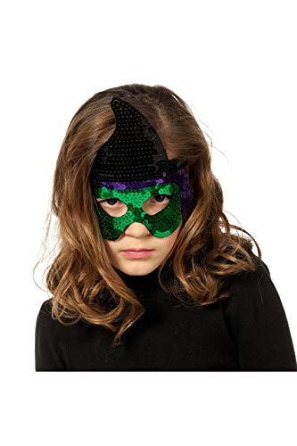 en-Maske Hexe Pailetten für Kinder Witch Glitzer Grusel Horror Scary HochwertigEinheitsgröße Schwarz/Grün ()