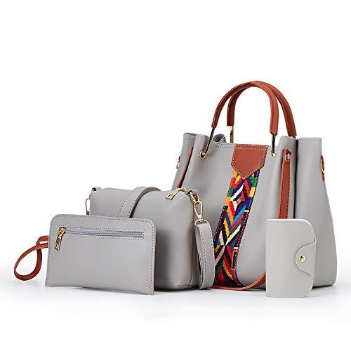 CHQFrauen Messenger Bag Fashion Tote Umhängetasche hellgrau 25 * 14 * 25CM