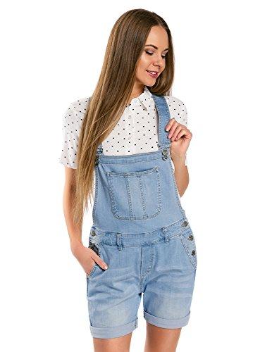 oodji Ultra Damen Kurze Jeans-Latzhose, Blau, DE 36 / EU 38 / S