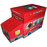 Maison & Cuisine Storage Box Portable & Foldable Laundry Box Cum Sitting Stool Folding/Sitting Stool/Stool/pouffes For Living Room/Puffy Stool (57 Cm X 32 Cm X 25 Cm) (Traveling Bus)