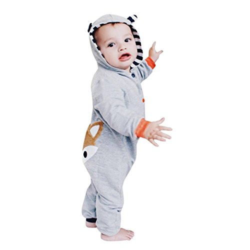 Strampler Babykleidung Lange Ärmel Spielanzug Kinder Streifen Hut Karikatur Fuchs Kapuzenpullover Overall Jungen Mädchen Kleider 0-24 Monate Baby Walkoverall Outfits (70, Grau) (Säuglings-baby-halloween-kostüme)