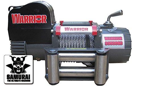 Warrior Winch WW95SDA12 Elektrische Seilwinde Warrior Samurai C9500 Short Drum 4,3 t 12 V Kunststoffseil Kabel- und Funkfernbedienung Grau-Scharz