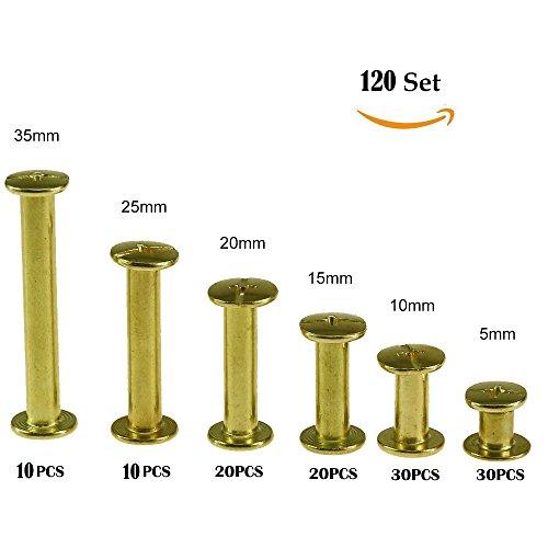 120-Set Chicago Bindung Schrauben Kit 6Größen sortiert Metall Kreuz Kopf Ohrstecker Schraube Pfosten Nail Stift Chicago Button 5mm 10mm 15mm 20mm 25mm 35mm für Heimwerker Leder Dekoration buchbinde