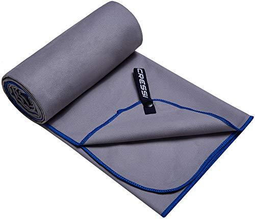 Cressi Microfibre Fast Drying Toalla Sport, Adultos Unisex, Gris/Azul, 80x160