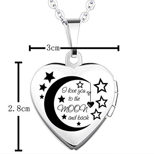 """Versilbertes Medaillon von Ixiqi Jewelry, mit der Gravur """"I love you to the moon and back"""" Medaillon in Herzform, undendliche Liebe, für Damen, zum Einsetzen von Fotos, mit"""