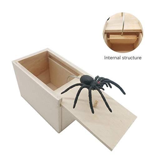 Streich-Schrecken-Box ider Spinne Streich-Box, Überraschungsbox aus Holz Sp Parodie des Aprilscherz Funny Scare Kleine Holzkiste Spinne Scary Girls für Kinder Erwachsene Party Favors Gifts Kinder Spider Girl