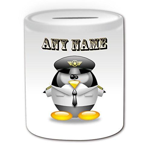 Personalisiertes Geschenk-Pilot in weiß Spardose (Design Pinguin in Kostüm Thema, weiß)-alle Nachricht/Name auf Ihre einzigartige-Aviator Uniform Aircraft
