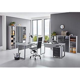 BMG-Moebel.de Büromöbel komplett Set Arbeitszimmer Office Edition in Lichtgrau/Anthrazit Hochglanz (Set 5)