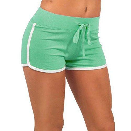 FNKDOR Damen Baumwolle Shorts Hot Pants Sporthose Strand Running Gym Yoga Hose (36, Türkis) (Hot-yoga-pants)