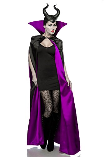 Kostüme Feen Lila (Damen Halloween Feen Teufel Kostüm aus Cape, Kleid, Strumpfhose skinny eng, Hörnermaske in schwarz/lila OneSize XS-M)