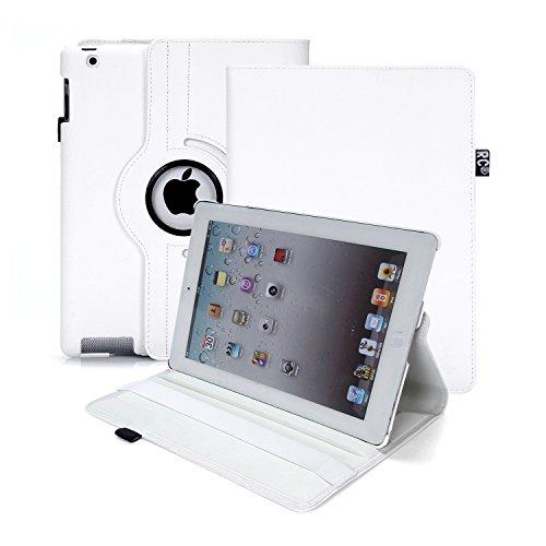 Custodia per iPad 2/3/4, RC copertina con Rotazione a 360 gradi Custodia in Pelle PU per Apple iPad 2 3 4 con Smart Cover (Bianco)