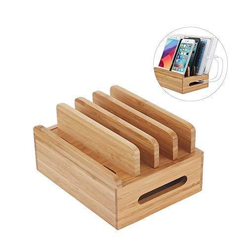 Porta Smartphone e Tablet in Legno di Bambù Organizzatore per Mantenere in Ordine la Scrivania Phone Stand e per avere i...
