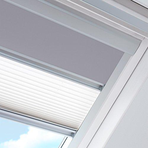 Rolstores - Store jour et nuit pour fenêtre de marque Velux Dimensions CK04 - Occultant gris / Plissé blanc
