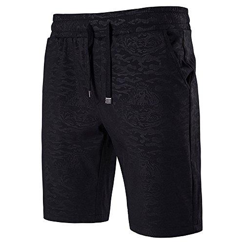Ujunaor pantaloni corti da uomo sportivi corti e sportivi da estate. pantaloncini(large,nero)