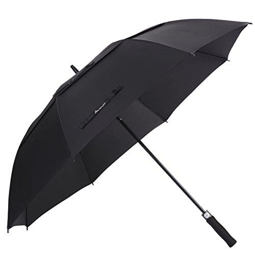 Sel Natural Regenschirm, 62 Inch Automatische Öffnen Golf Schirme, Regen- und Windresistent Schwarz