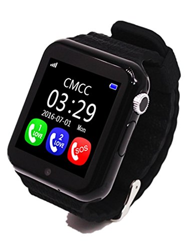 Preisvergleich Produktbild Joyeer Smart Watch Kinder Sicherheit Anti-Lost GPS Tracker Smartwatch Touchscreen mit Kamera Facebook Kinder SOS Notfall Baby Geschenke Uhr für Iphone & Android , black