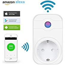 Enchufe Inteligente Wifi Inalámbrico, LEMAIKJ enchufe de sincronización de tiempo inteligente Pared APP Control Enchufe Temporizador y Grupo Funcion con Alexa y Google Home