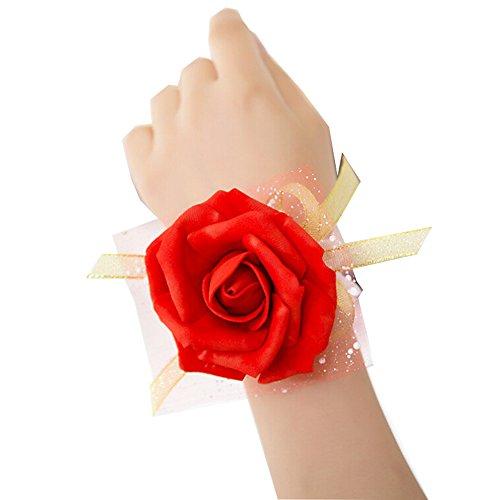 Westeng, bouquet da polso per sposa o damigella, per matrimonio o ballo, con motivo floreale e nastro, 3pezzi, red, taglia unica