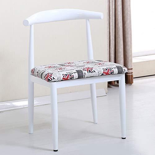 seeksungm Chair, Single imitation wood Horn Chair, Low Carbon Environmental Restaurant Chair, simple Casual Armchair, Total height 75 cm * Width 47 cm, Red Pear (Blue PU cushion)