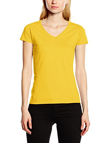 Fruit of the Loom Damen T-Shirt Valueweight V Neck Lady-Fit, Yellow (Sunflower), 40 (V-neck Sweater Womens)
