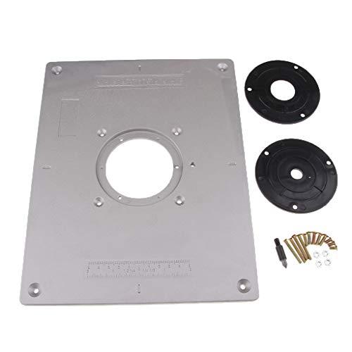 Almencla Aluminium Router Tischeinsatz Platte mit 2 Ringen und Schrauben für Holzbearbeitungsbänke
