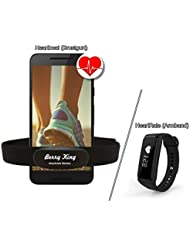 BerryKing Heartbeat Brustgurt oder BerryKing HeartRate Armband Tracker - BLUETOOTH 4.0 und ANT+ BRUSTGURT für RUNTASTIC, WAHOO, STRAVA App, für iPhone 4S/5/5C/5S/6/6S/6+ Android - Herzfrequenz Messer / Sensor ANT+ & Bluetooth 4.0 für Garmin, TomTom, iPhone, Android