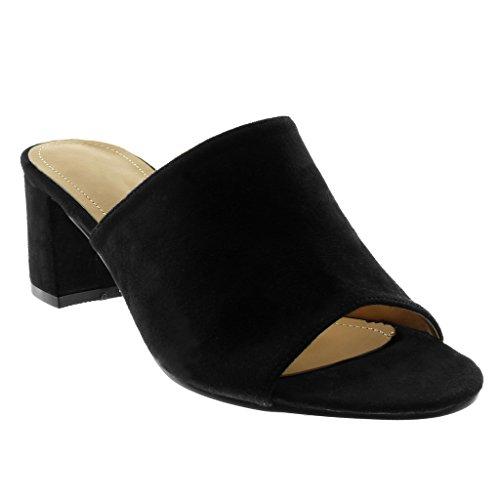Angkorly Damen Schuhe Sandalen Mule - Slip-On - Modern Blockabsatz High Heel 5.5 cm - Schwarz BC369 T 39