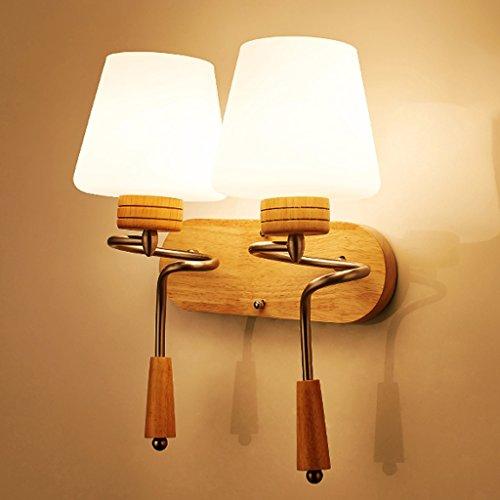 HOHE SHOP/Salon en bois massif salon balcon escalier lampe de chevet mur d'allée double tête