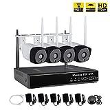 IMATEK Kit de cámara de vigilancia inalámbrica 4CH 720P HD NVR,c / 4 cámaras IP 720P para Exteriores,Sistema de Seguridad WiFi para el hogar,NO HDD