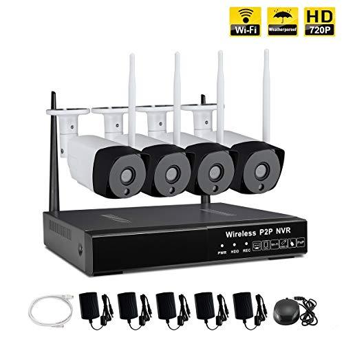 IMATEK 4CH HD NVR Wireless Überwachungskamera System, w / 4 Outdoor 720P IP-Kameras, WiFi Outdoor Netzwerk Surveillance Kit(Keine Festplatte installieren) Outdoor-kamera-kit