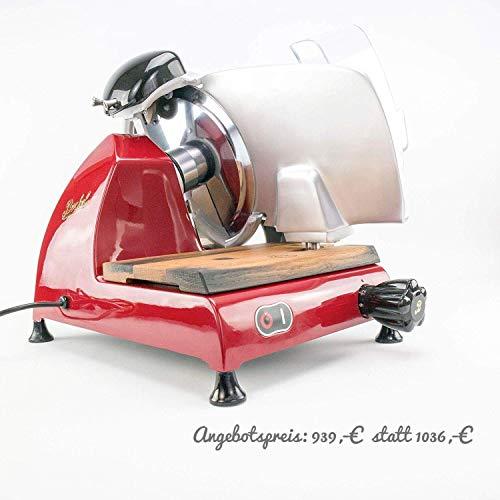 Berkel Red Line 250 | Allesschneider/Aufschnittmachine | rot | + handgefertigtes Fassholzbrett aus alten Weinfässern (Eiche) | VK:1036,-€