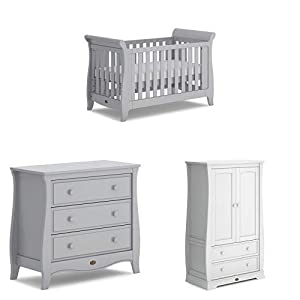 Boori Sleigh Expandable 3 Piece Nursery Room Set, Wood, Pebble   3