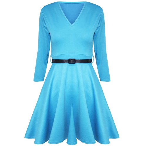 Be Jealous -  Vestito  - Donna Turquoise - Sleeved Stretch Party Wear