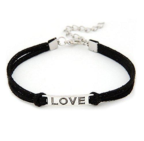 Braccialetto Familizo Regalo del braccialetto tessuto 1PC donne degli uomini della lega di amore a mano corda gioielli Charm_Nero