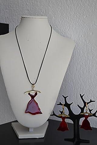 Handgemachte Halskette und Ohrringe, Kleid der Frauen aus Messing rot