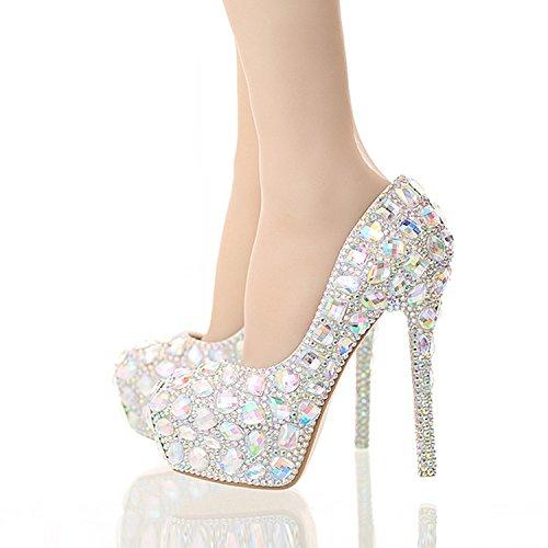 XIE Sscarpe da sposa femminili / principessa e sposa / tacco stiletto / piattaforma rotonda piattaforma impermeabile / sandali high-heeled / sette cristallo colorato scarpe 14CM