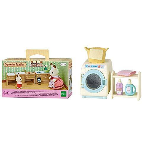 SYLVANIAN FAMILIES Sylvanian Families-5054131052228 Set Horno, Fregadero y encimera Cocina, (Epoch para Imaginar 5222) + Washing Machine Set Mini muñecas y Accesorios, (Epoch para Imaginar 3565)
