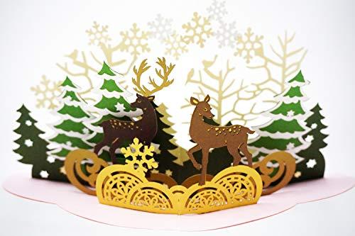 3D Pop-Up-Karte, Premium Metallic-Papier, Laserschnitt, einzigartiger Stil, handgefertigt, mit Umschlag und 2-lagiger Nachrichtenseite Christmas Forest