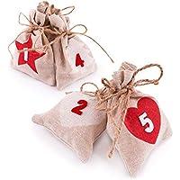 Pajoma Adventskalender, 24 Beutel mit Nummern zum Befüllen, Weihnachten (Jute)