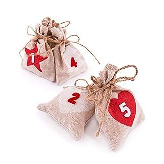 Pajoma Calendario de Adviento Bolsa–24–Bolsa de tela para colgar rellenar y numerada, Navidad