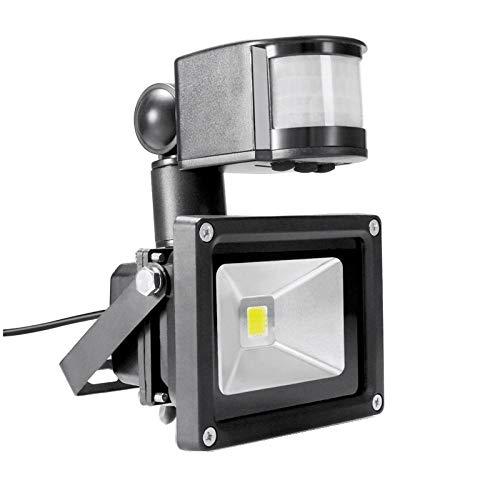 PIR 10W LED Fluter Toolery 12V 24V Eingangsstrahler wasserdicht Solaranlage Garagensicherheit Bewegungssensor Time Lux einstellbar, Pure_white_Grey_12V