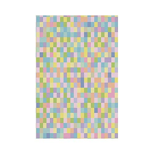 gthytjhv Pastel Colorful Squares Pattern Checkered Mosaic Style Mottled Cubical Tile Grid Print House Garden Family Event Decoration