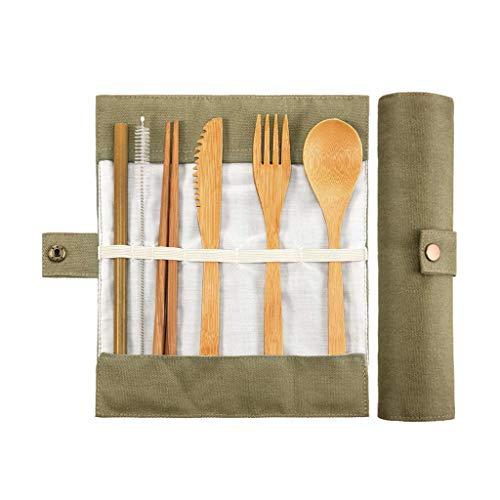 jieGREAT ❄ Weihnachten Deko❄ ,Reise Besteck Besteck Bambus Utensilien SetReusable Eco Friendly Portable