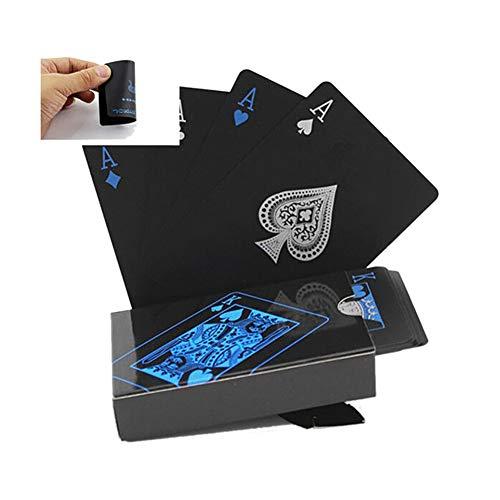 ChYoung Wasserdichte Pokerkarten Spielkarte Klarer Druck mit Aufbewahrungsbox Blau + Schwarz