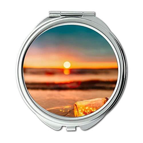 Yanteng Spiegel, kompakter Spiegel, Strandunschärfewolken, Taschenspiegel, tragbarer Spiegel