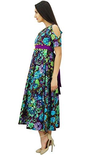 Bimba coton froid épaule longue robe des avec des pom vêtements à la mode chic, Multicolore